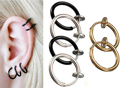Mystery Gothic Clip On Fake Piercing Ear Nose Hoop Ring Earring Tragus 3 COLORS