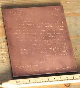 HANDSCHRIFTGalvano-Druckstock-Kupferklischee-Druckplatte-imprimerie-letterpress