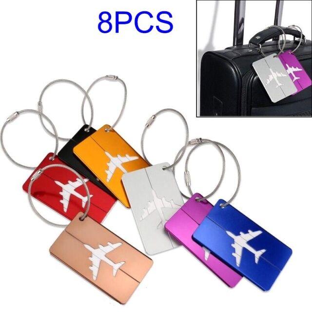 8Pcs Luggage Tags Aluminium Alloy Name/Address/ID Label Travel Suitcase Bag Tag