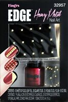 Fing'rs Edge Nail Art Heavy Metal Gold Leaf Foil+square+round Studs+polish 32957