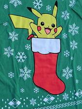 Mens XL Christmas Pokemon Pikachu shirt new green tshirt
