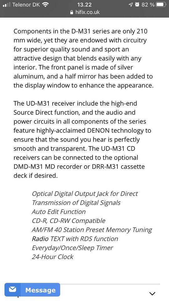 Microanlæg , Denon, UD-M31