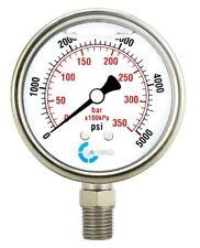 2 12 Pressure Gauge Stainless Steel Case Liquid Filled Lower Mnt 5000 Psi