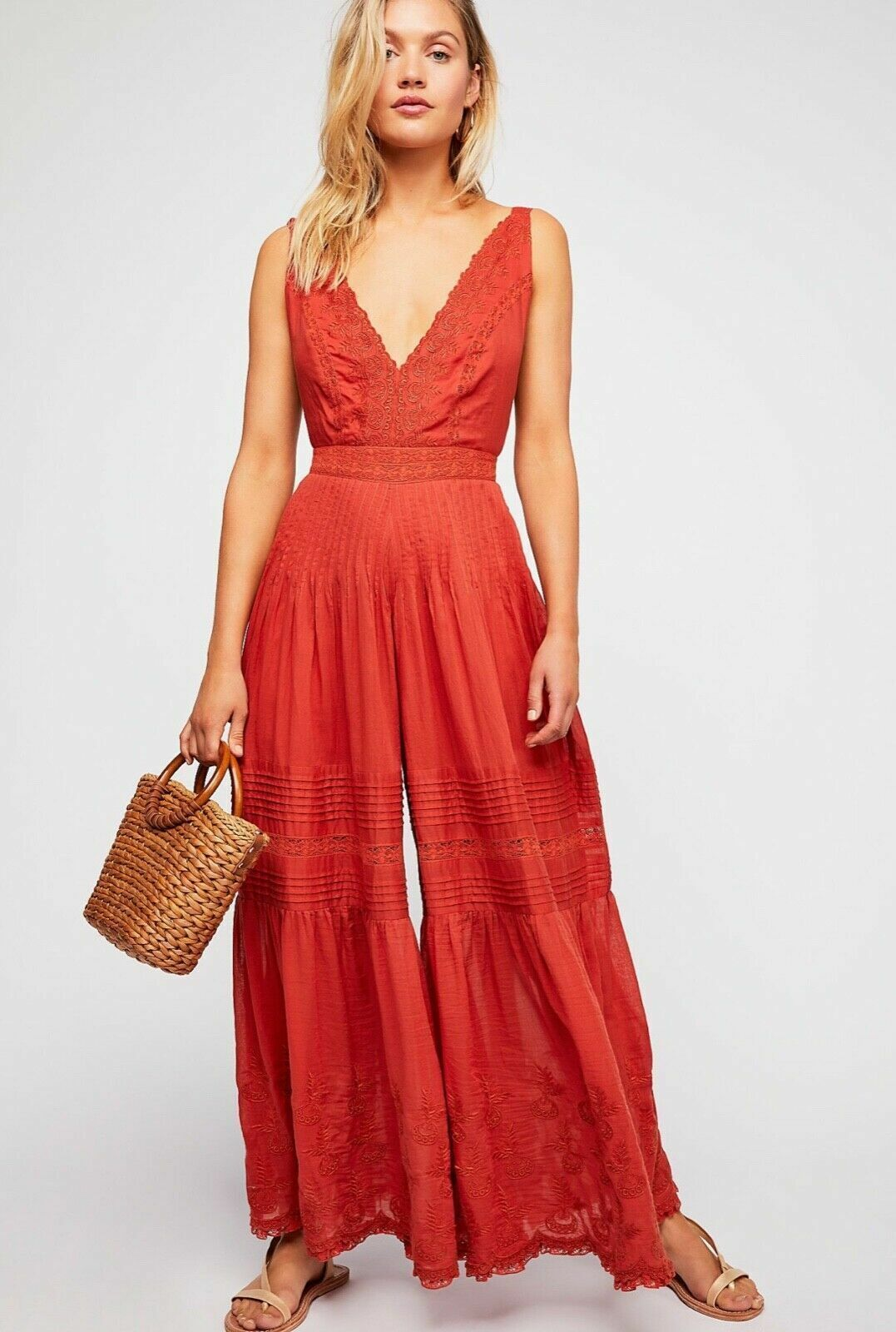 Free People NWT Size 2  XS Beautiful Luxe Paloma Jumpsuit NEW  orange  Red
