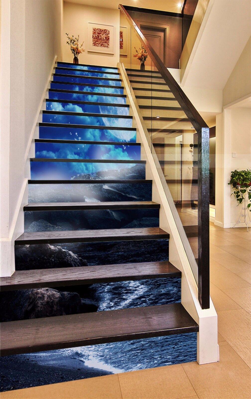 3D Coast Full Moon Stair Risers Decoration Photo Mural Vinyl Decal WandPapier AU