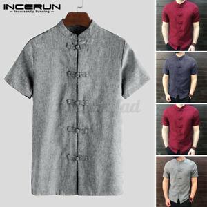 Vinatge Men/'s Short Sleeve Shirt Kung Fu Causal Tops Blouse Tee Summer Shirts UK