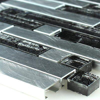Glas Aluminium Alu Mosaik Verbund Fliesen Schwarz Silber