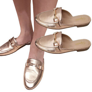 a46d0d64b4e USA Women Rose Gold Horsebit Close toe Sandal Slip On Loafer Mules ...