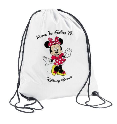 Minnie Mouse Personalised Drawstring Travel Bag Kids Girls Boys