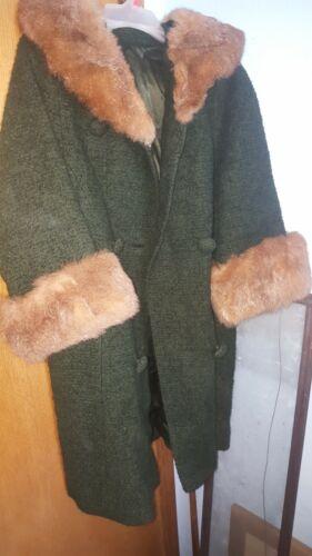 Vintage Women's 1950's Wool Coat Hood Faux Fur Tri