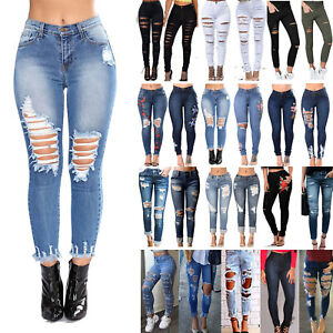Womens-Stretch-Ripped-Denim-Jeans-Slim-High-Waisted-Pencil-Ankle-Pants-Trousers