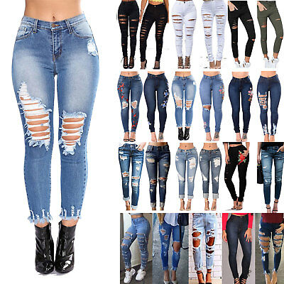 Womens Stretch Ripped Denim Jeans Slim High Waisted Pencil Ankle Pants Trousers   eBay