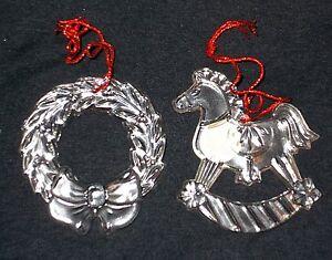 2 PRINCESS HOUSE Lead Crystal Ornaments Rocking Horse~Wreath IOB #896 Christmas