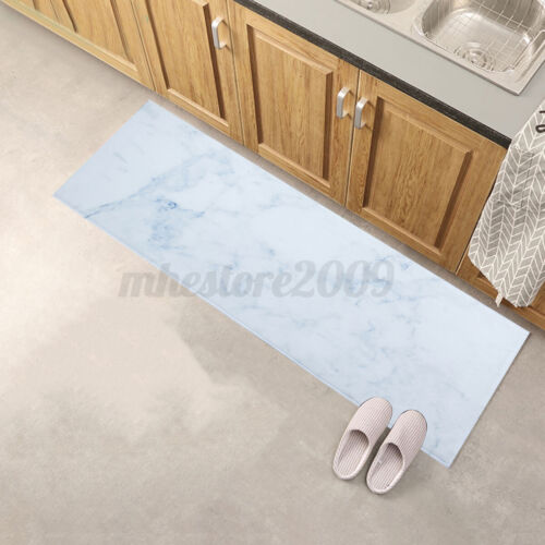 1x Marble Texture Pattern Printed Floor Mat Non-slip Mat Carpet Home Kitchen