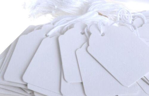 3000 x Quality Pre Strung White Labels Price Tags 45mm x 74mm C-29