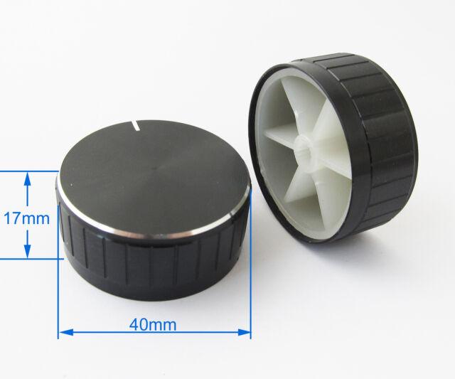 1pc 40x17mm Black Circular Knob Aluminium Cover for Audio Volume Tone Control