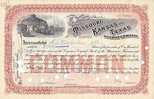1900/'s Kansas Missouri Texas Railway 100 shares stock certificate stamps