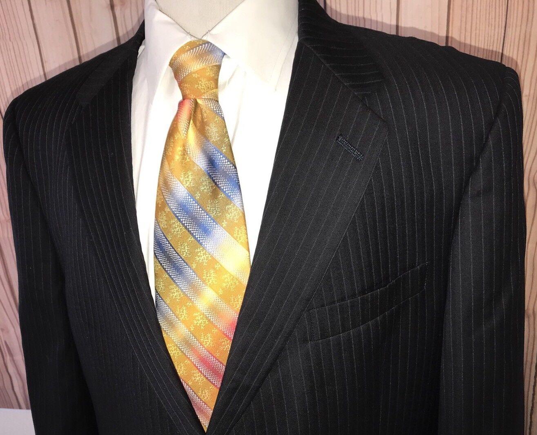Daniel Cremieux Loro Piana blu Pinstripe 100% Wool Sport Coat 44S Blazer Sz 44S Coat 8f595d