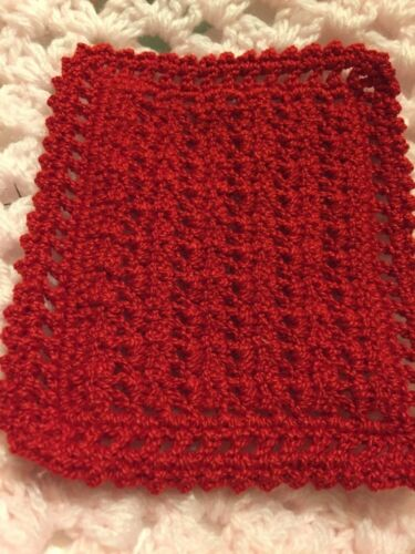 NEW CROCHET MINIATURE DOLLHOUSE  BLANKET Red Help a Sick Puppy!