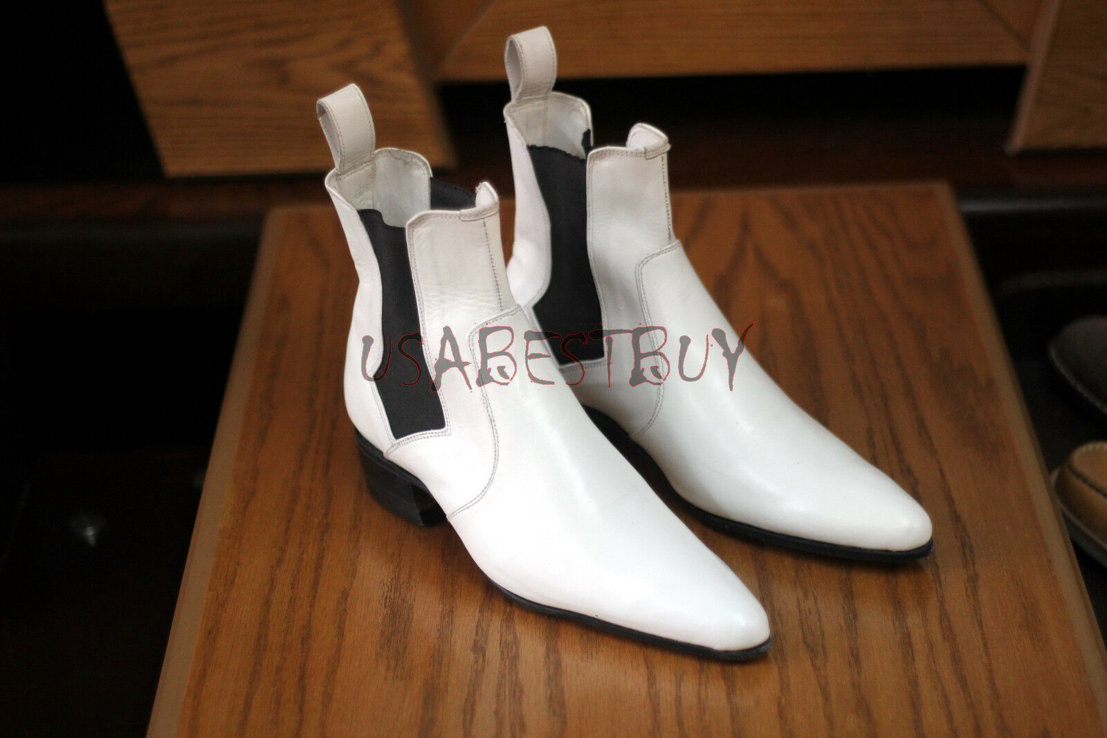 New Pure Handmade Mens White Chelsea Real Leather Boots, Men leather boot