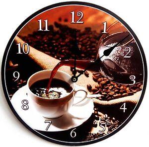 Wanduhr-Kuechenuhr-Design-Black-Coffee-Nostalgie-rund-shabby-Uhr-retro-Kaffee