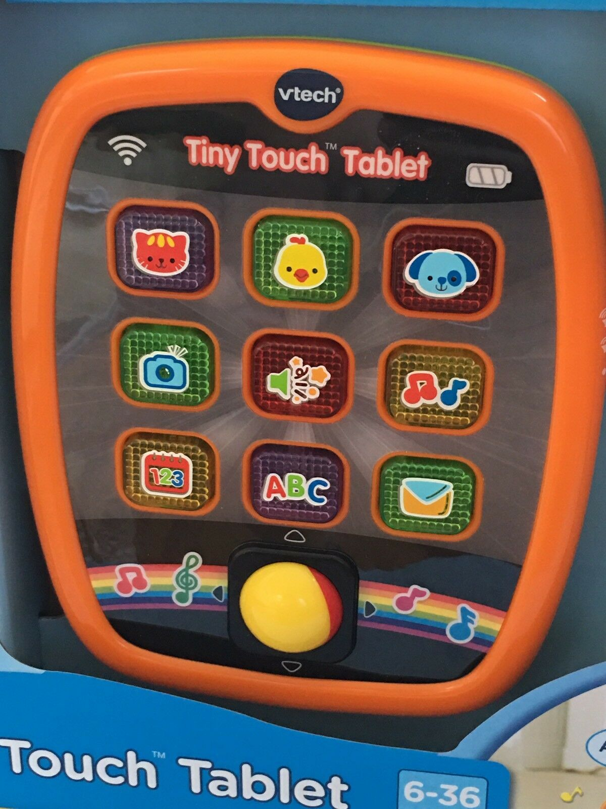 NEW  VTECH TINY TOUCH TABLET orange 6-36 MONTHS ANIMALS MUSIC NUMBERS LETTERS