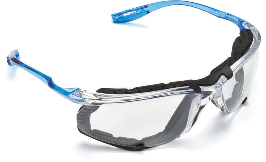 3M Virtua CCS Safety Glasses with Blue Temples, Foam, Clear Anti-Fog Lenses