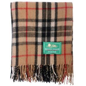 BORDER-TWEEDS-Picnic-Travel-Rug-Throw-Wool-Tartan-Scottish-Thomson-Camel