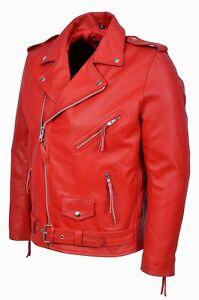 estilo Brando con con de Biker clásica Chaqueta los cuero rojo de cuero hombres moda de real wxfSxXq