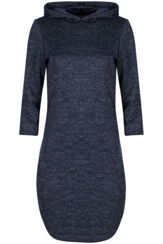Womens Ladies 3//4 Sleeve Curved Hem Hoodie Hoody Marl Knitted Shirt Midi Dress