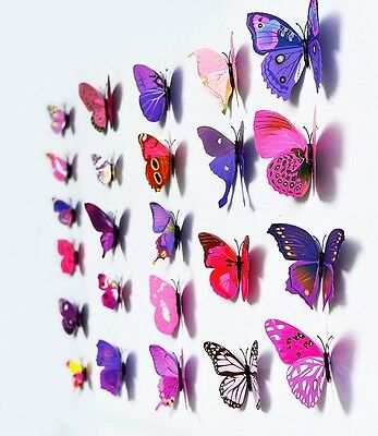 12 PCS DIY 3D Butterfly Wall Sticker Home Decor Room Decorations Art Free Ship