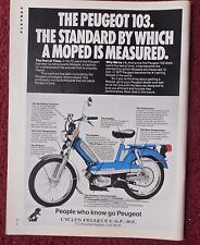 1978 Print Ad PEUGEOT 103 Mini Bike Cycle ~ The Standard by which Moped Measured