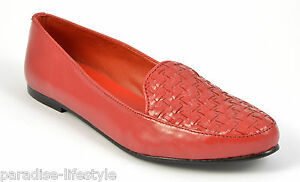 Heel Mocassini Red Pumps Size Scarpa Ladies Toe Ballerina Woven Dolly Leather Womens v0nSq4n