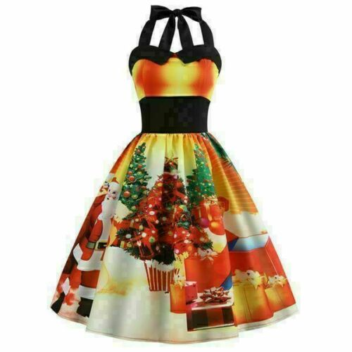 Evening Winter Dress Christmas Floral Womens Cocktail Party Swing Dresses