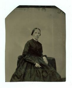 B7745 Half Plate+Tintype Woman in Black Mourning Dress. 3 Cent Tax Stamp Verso D