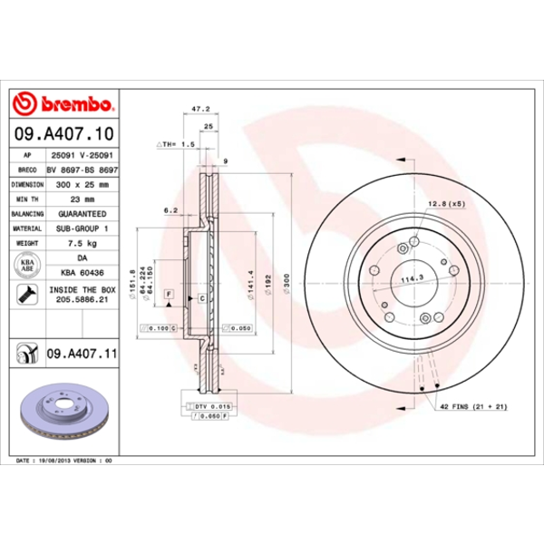 Disco de Freno (2 Piezas) Revestido Disc Line - Brembo 09.A407.11