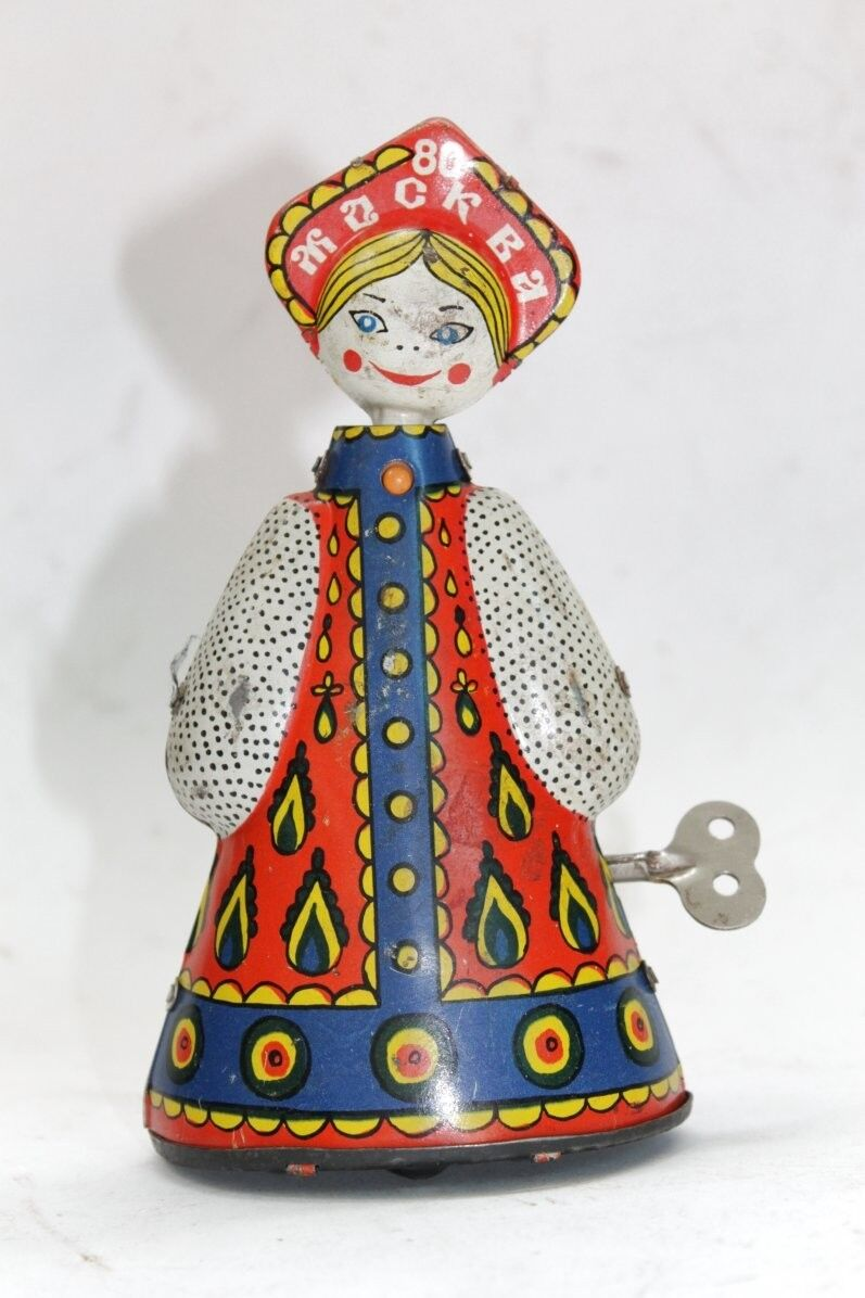 Vintage Russian Windup Tin Doll Moscow 1980 Olympics