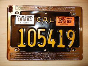 1960-039-s-large-size-5-034-x-8-034-vintage-California-chrome-license-plate-frame-BRAND-NEW