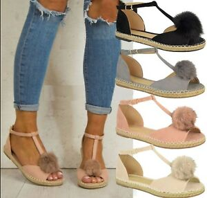 WOMENS-LADIES-FLAT-PEEPTOE-POM-POM-T-BAR-ESPADRILLES-PUMPS-SANDALS-SHOES-SZ-3-8