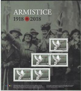 Kanada-2018-Kleinbogen-Von-5-Briefmarken-Zoll-Waffenstillstand-Tag-CM-Gestempelt