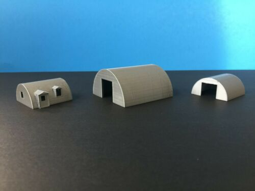 QUONSET Building Set with Office 3 N Scale 1:160 Military or Farm Cluster