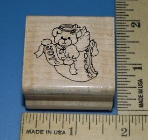 Joy-Angel-Christmas-Bear-Rubber-Stampede-Foam-amp-Wood-Rubber-Stamp