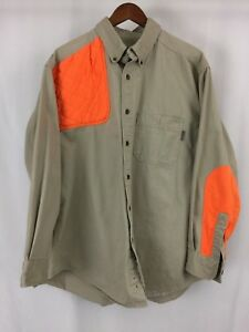 WOOLRICH-Button-Front-Long-Sleeve-Orange-Elbow-Patch-Hunting-Tan-Mens-Shirt-XL