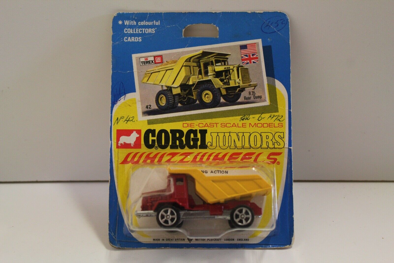 Corgi Junior No  42  R35 Rear Dump Truck  - rot (UNOPENED Original 1970)