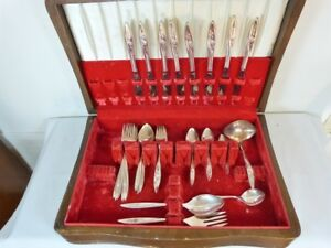 ae5881d49105 MORNING ROSE 1960 at 52 PIECES FLATWARE CASED PARTIAL SET BY ...