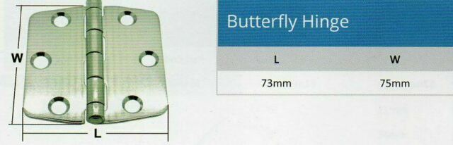Butterfly Hinge  75mm x 36mm Stainless Steel Marine