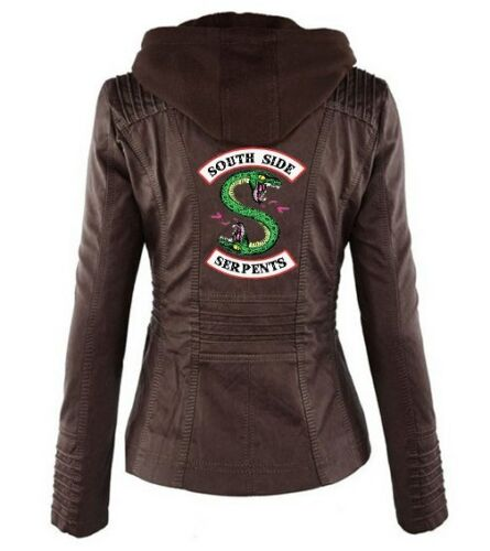 Riverdale South side Serpents PU Leder Jacke Damen abnehmbare Kapuze