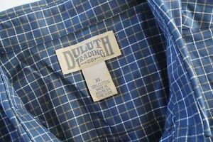 Duluth-Trading-Men-039-s-Size-XL-Long-Sleeve-Button-Shirt-Cotton-Blue-Plaid