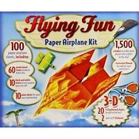 Flying Fun Paper Airplane Kit With 3-d Glasses & Book- Makes 100 Airplanes