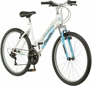 26 Inch Women S Mountain Bike 18 Speed White And Blue